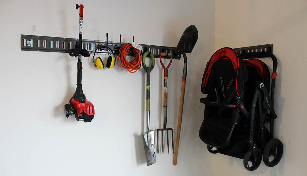 e track for the garage organization system