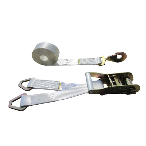 White 2 Inch Double Leg Tent Strap with 2 Delta Rings and Twisted Snap Hook