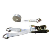 White 2 Inch Double Leg Tent Strap with 2 Delta Rings and Wire Hook