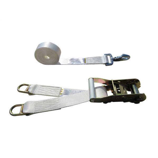 White 2 Inch Double Leg Tent Strap with 2 Double Bar D Rings and Forged Snap Hook