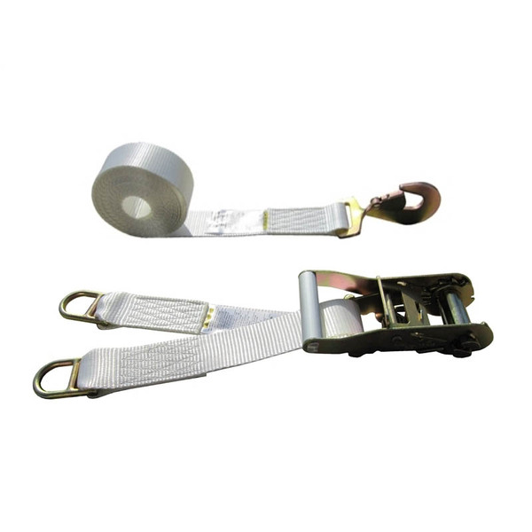 White 2 Inch Double Leg Tent Strap with 2 Double Bar D Rings and Twisted Snap Hook