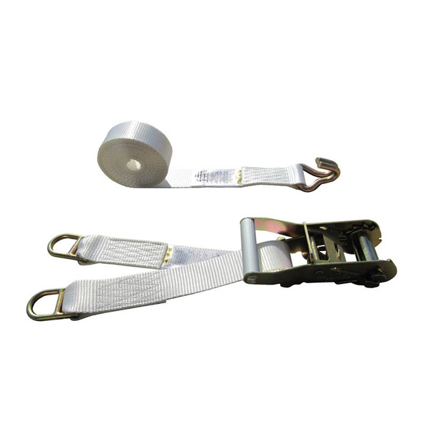 White 2 Inch Double Leg Tent Strap with 2 Double Bar D Rings and Wire Hook