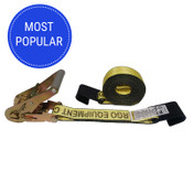 2-Inch X 30 Ft Yellow Ratchet Strap With Flat Hooks