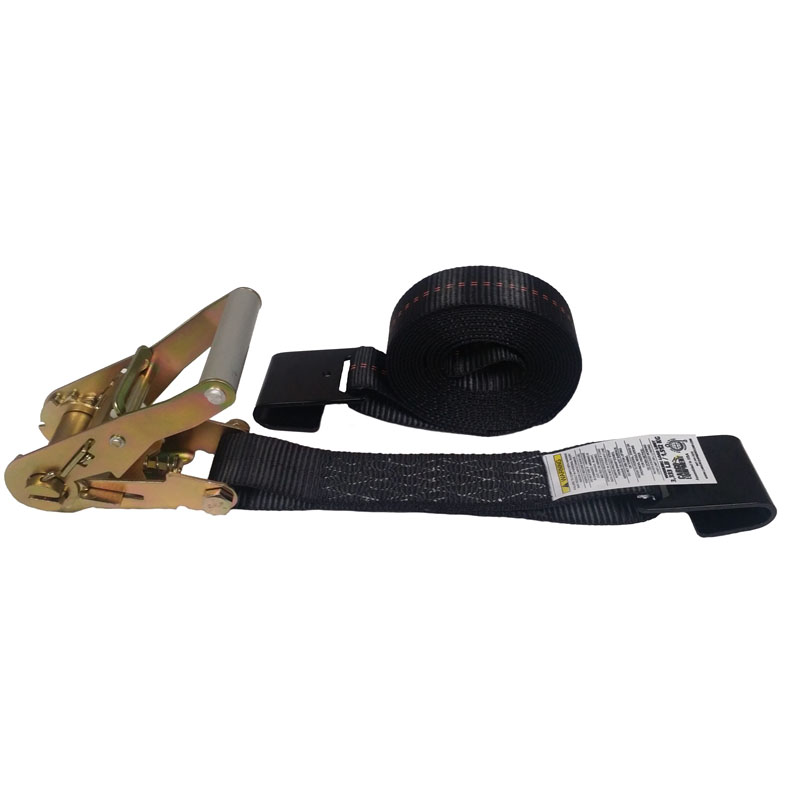 2-Inch Ratchet Strap With Flat Hooks and Black Webbing