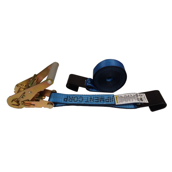 2-Inch Ratchet Strap With Flat Hooks and Blue Webbing
