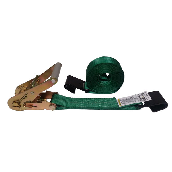 2-Inch Ratchet Strap With Flat Hooks and Green Webbing