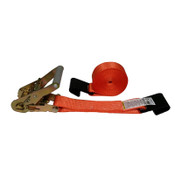 2-Inch Ratchet Strap With Flat Hooks and Orange Webbing