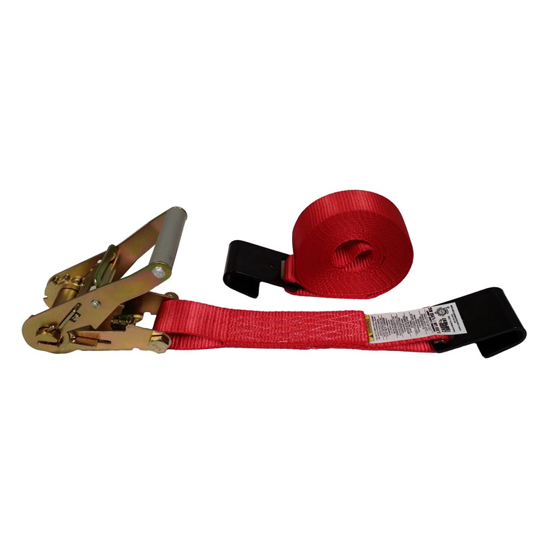 2-Inch Ratchet Strap With Flat Hooks and Red Webbing