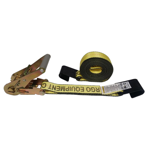 2-Inch Ratchet Strap With Flat Hooks and Yellow Webbing