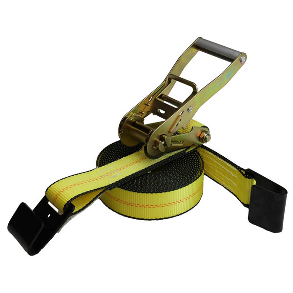 2-Inch Python Ratchet Strap With Flat Hooks and Yellow Webbing