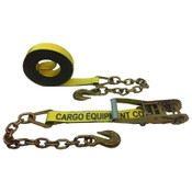 2-Inch Yellow Ratchet Strap With Chain Anchors