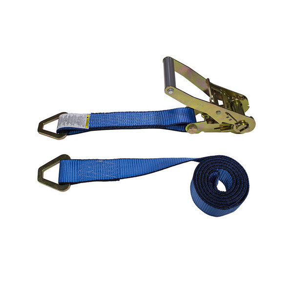 2-Inch Ratchet Strap With Delta Rings and Blue Webbing