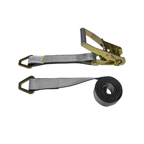 2-Inch Ratchet Strap With Delta Rings and Gray Webbing