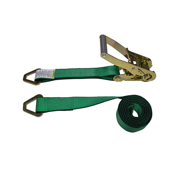 2-Inch Ratchet Strap With Delta Rings and Green Webbing