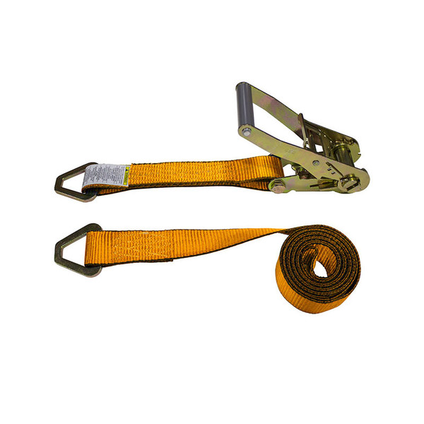 2-Inch Ratchet Strap With Delta Rings and Orange Webbing