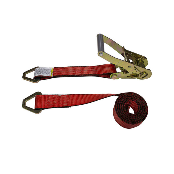 2-Inch Ratchet Strap With Delta Rings and Red Webbing