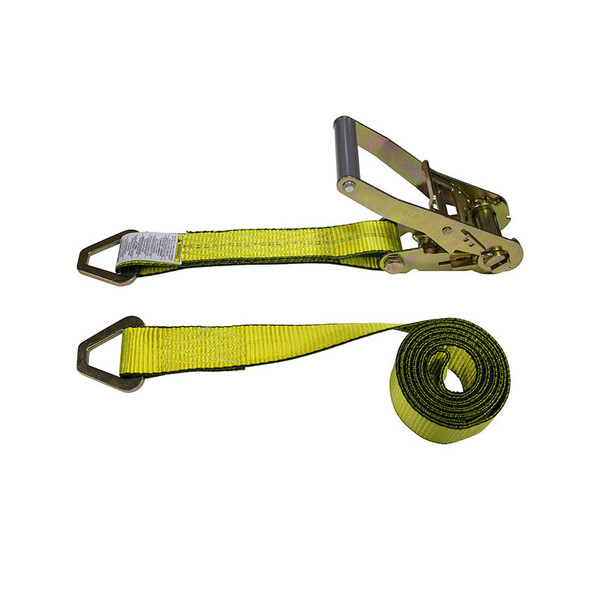 2-Inch Ratchet Strap With Delta Rings and Yellow Webbing