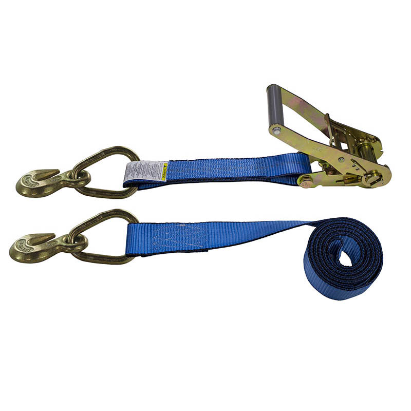 2-Inch Ratchet Strap With Grab Hooks and Blue Webbing