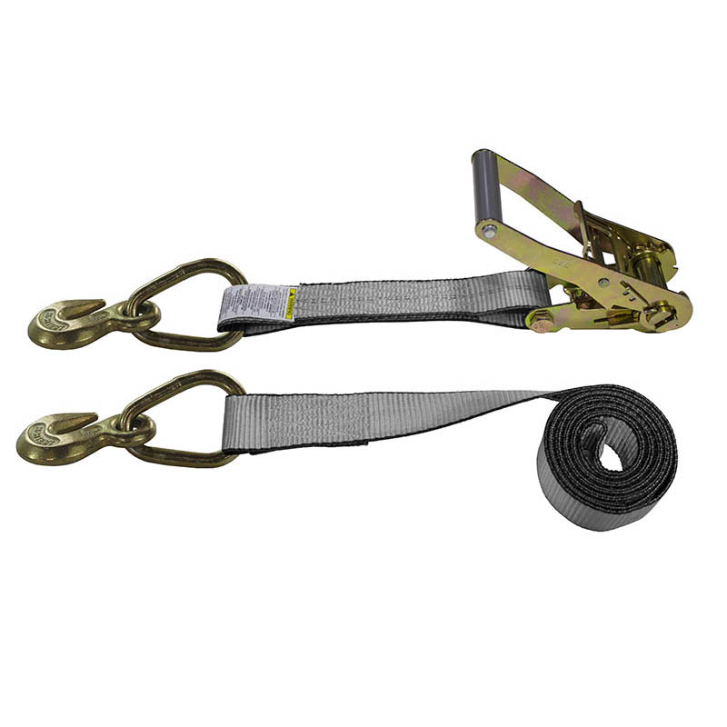2-Inch Ratchet Strap With Grab Hooks and Gray Webbing