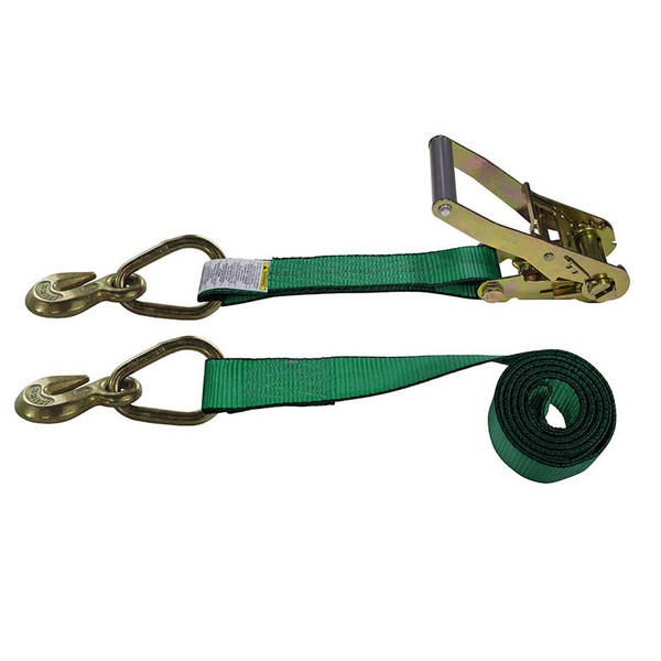 2-Inch Ratchet Strap With Grab Hooks and Green Webbing