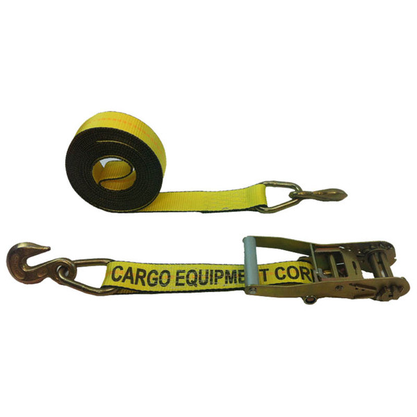 2-Inch Ratchet Strap With Grab Hooks and Yellow Webbing
