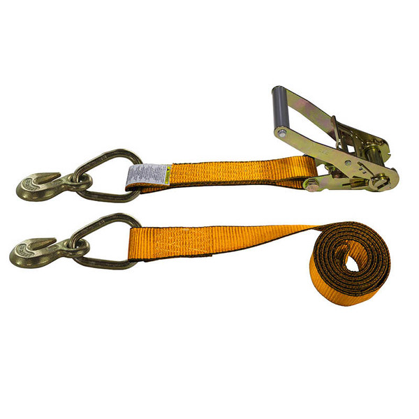 2-Inch Ratchet Strap With Grab Hooks and Orange Webbing