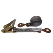 2-Inch Gray Ratchet Strap With Flat Snap Hooks