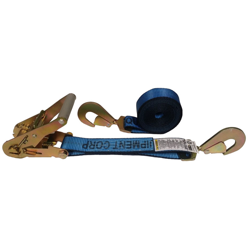 2-Inch Ratchet Strap With Twisted Snap Hooks and Blue Webbing
