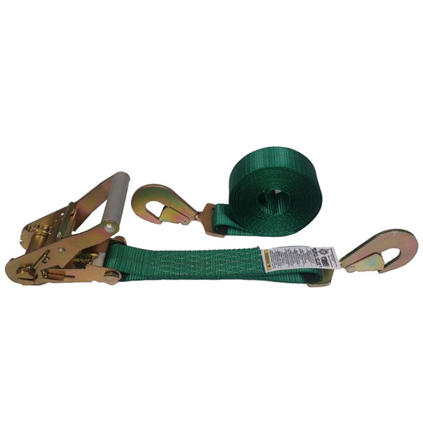 2-Inch Ratchet Strap With Twisted Snap Hooks and Green Webbing
