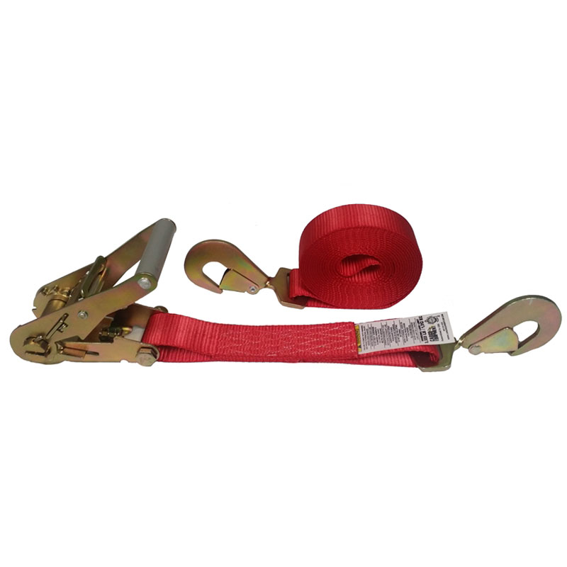 2-Inch Ratchet Strap With Twisted Snap Hooks and Red Webbing