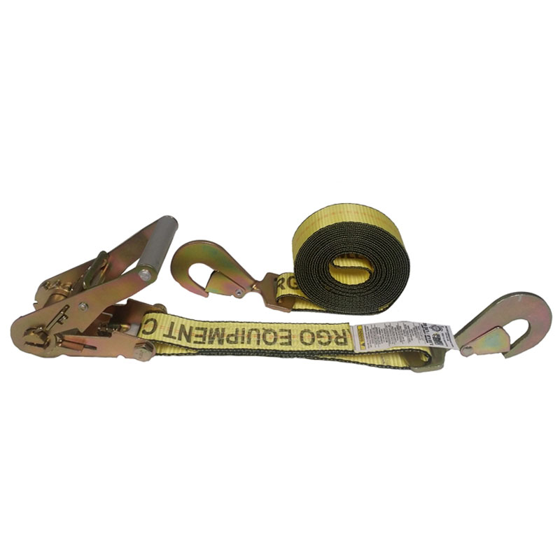 2-Inch Ratchet Strap With Twisted Snap Hooks and Yellow Webbing