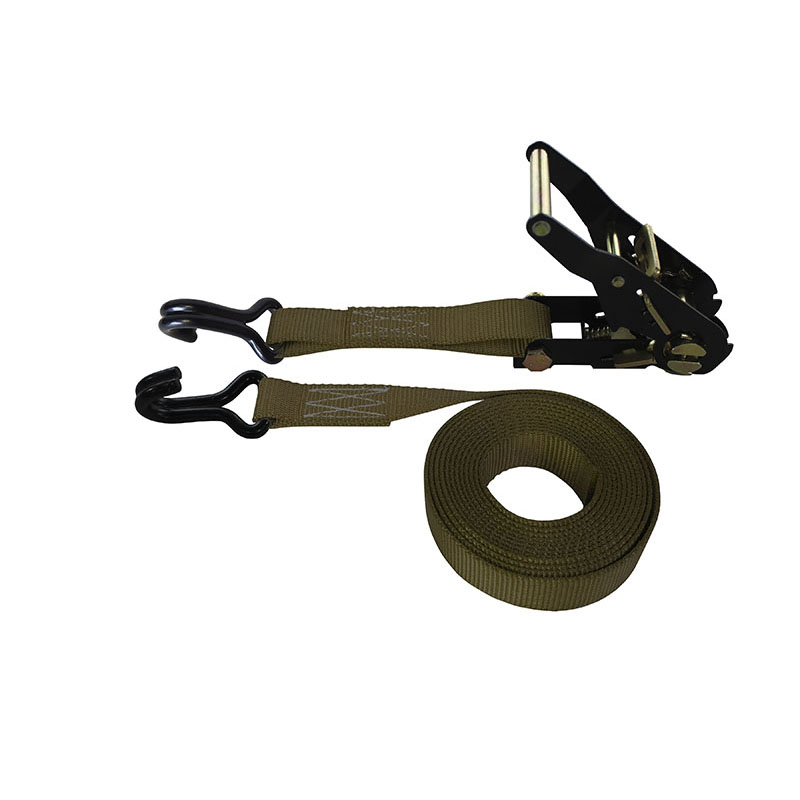 1-Inch Ratchet Strap With Vinyl-Coated Wire Hooks And Black Ratchet and Brown Webbing