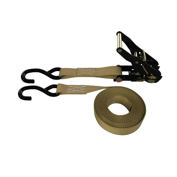1-Inch Ratchet Strap With Black Ratchet And Vinyl-Coated S-Hooks and Tan Webbing