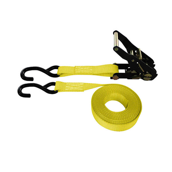 1-Inch Ratchet Strap With Black Ratchet And Vinyl-Coated S-Hooks and Yellow Webbing