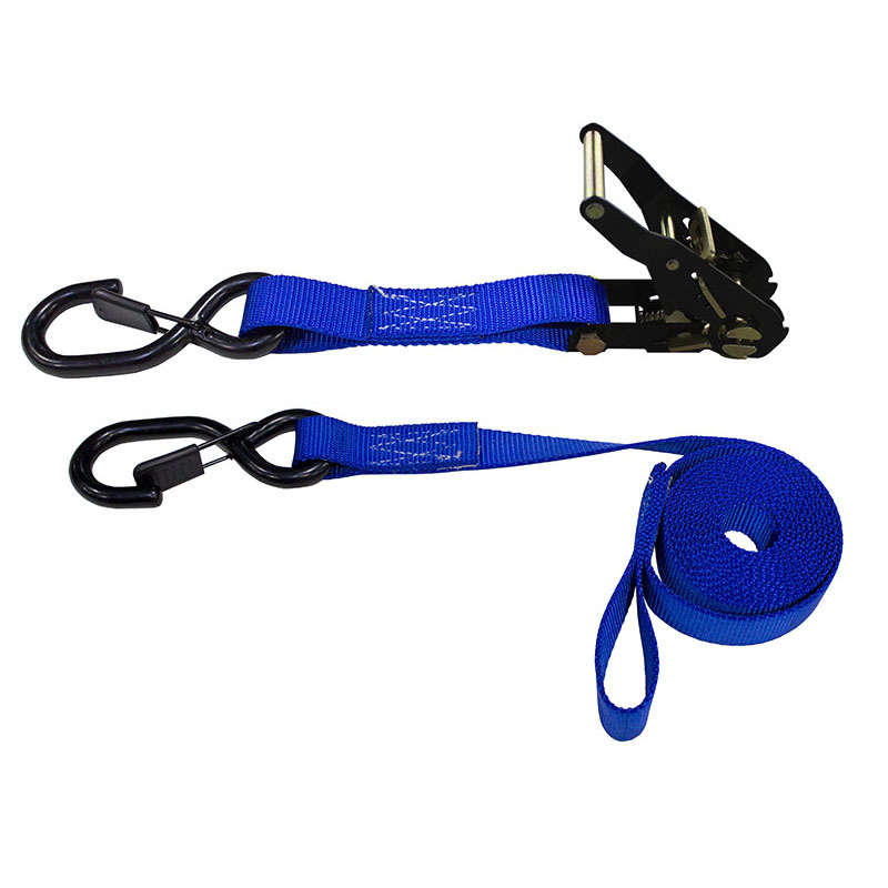 1-Inch Ratchet Strap With Vinyl-Coated S-Hooks With Keeper And Sewn-In Soft Tie and Blue Webbing