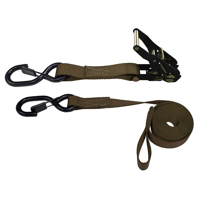 1-Inch Ratchet Strap With Vinyl-Coated S-Hooks With Keeper And Sewn-In Soft Tie and Brown Webbing