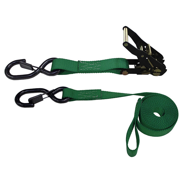 1-Inch Ratchet Strap With Vinyl-Coated S-Hooks With Keeper And Sewn-In Soft Tie and Green Webbing