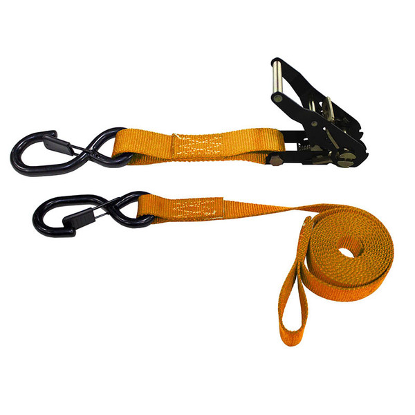 1-Inch Ratchet Strap With Vinyl-Coated S-Hooks With Keeper And Sewn-In Soft Tie and Orange Webbing