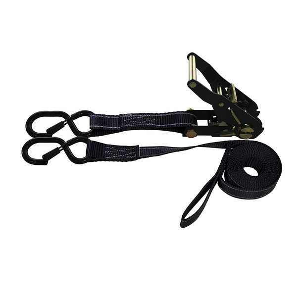 1-Inch Ratchet Strap With Vinyl-Coated S-Hooks With Keeper And Sewn-In Soft Tie and Reflective Black Webbing