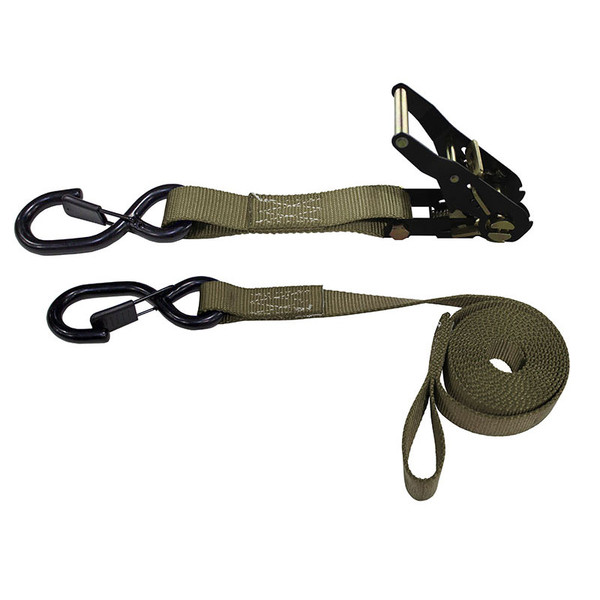 1-Inch Ratchet Strap With Vinyl-Coated S-Hooks With Keeper And Sewn-In Soft Tie and Tan Webbing