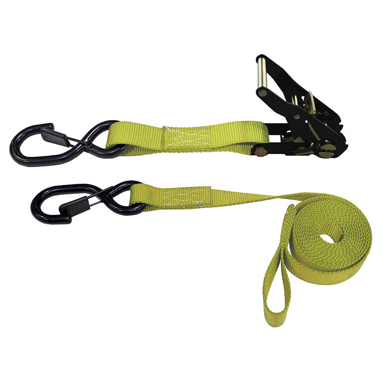1-Inch Ratchet Strap With Vinyl-Coated S-Hooks With Keeper And Sewn-In Soft Tie and Yellow Webbing