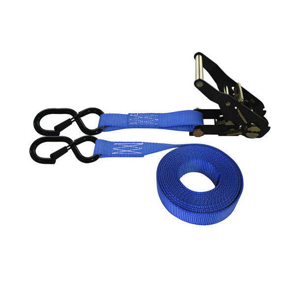 1-Inch Ratchet Strap With Black Ratchet And Vinyl-Coated S-Hooks With Keeper and Blue Webbing