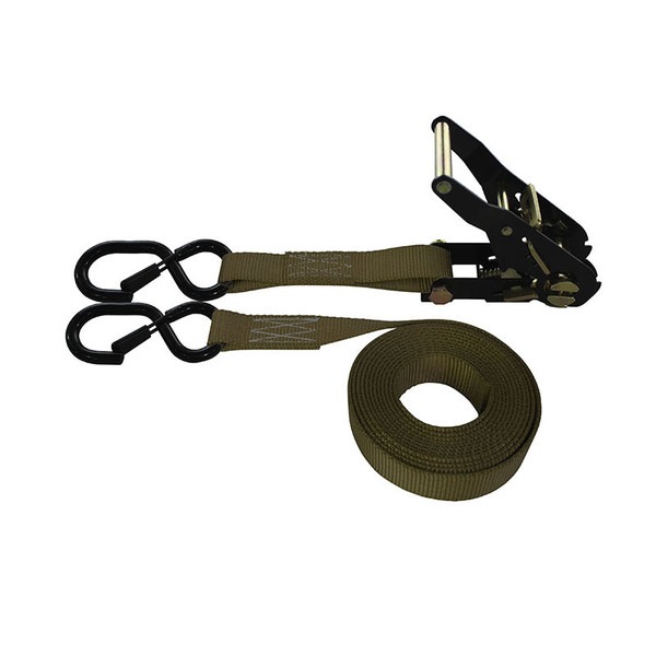 1-Inch Ratchet Strap With Black Ratchet And Vinyl-Coated S-Hooks With Keeper and Brown Webbing