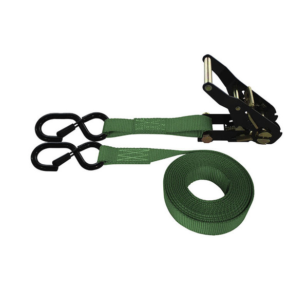 1-Inch Ratchet Strap With Black Ratchet And Vinyl-Coated S-Hooks With Keeper and Green Webbing