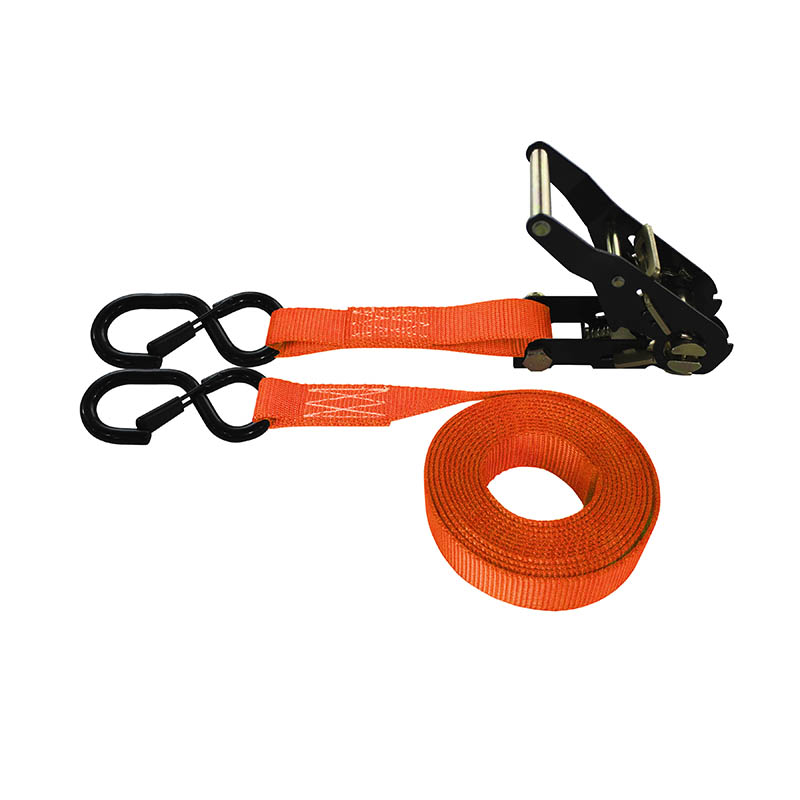 1-Inch Ratchet Strap With Black Ratchet And Vinyl-Coated S-Hooks With Keeper and Orange Webbing