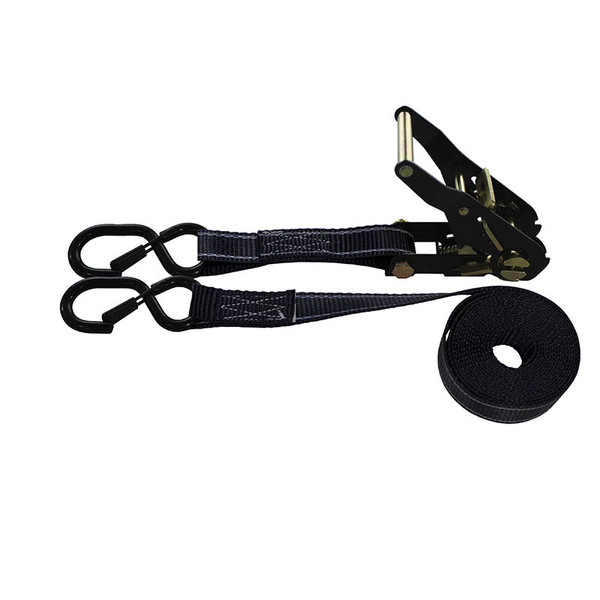 1-Inch Ratchet Strap With Black Ratchet And Vinyl-Coated S-Hooks With Keeper and Reflective Black Webbing