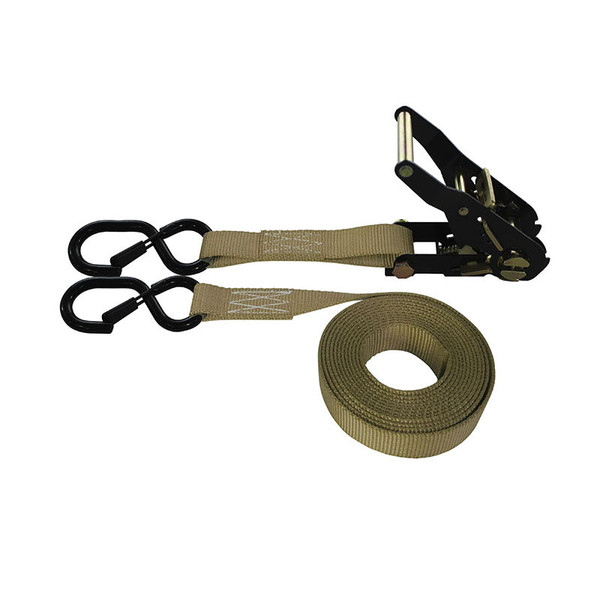1-Inch Ratchet Strap With Black Ratchet And Vinyl-Coated S-Hooks With Keeper and Tan Webbing