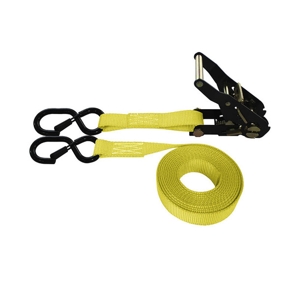 1-Inch Ratchet Strap With Black Ratchet And Vinyl-Coated S-Hooks With Keeper and Yellow Webbing