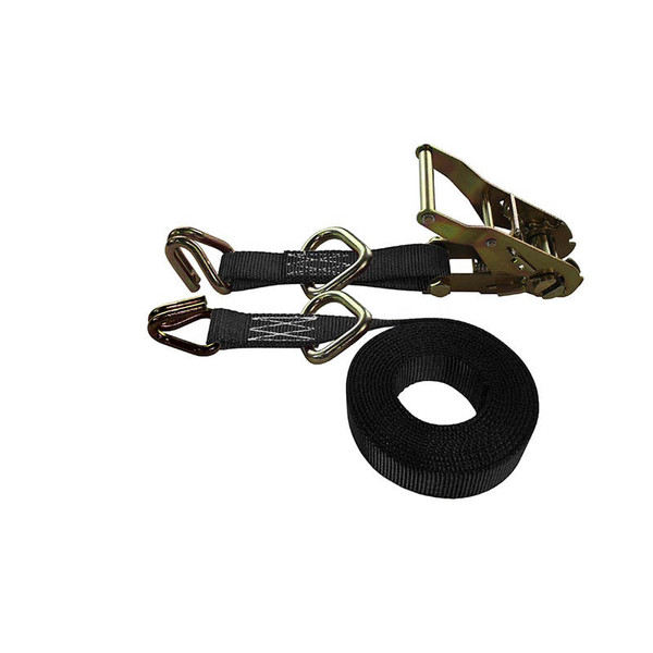 1-Inch Ratchet Strap With Wire Hooks And D-Rings and Black Webbing