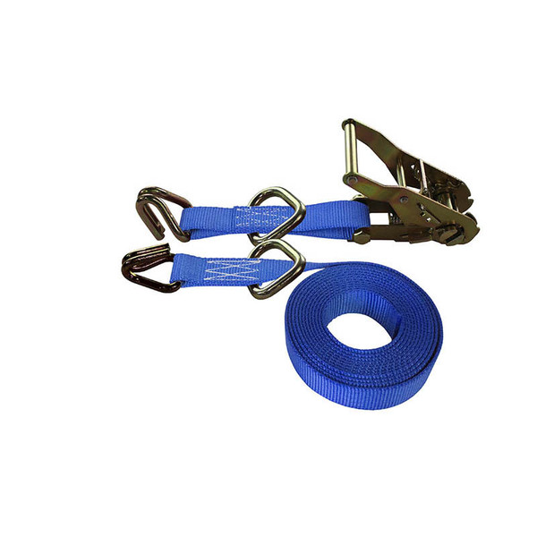 1-Inch Ratchet Strap With Wire Hooks And D-Rings and Blue Webbing
